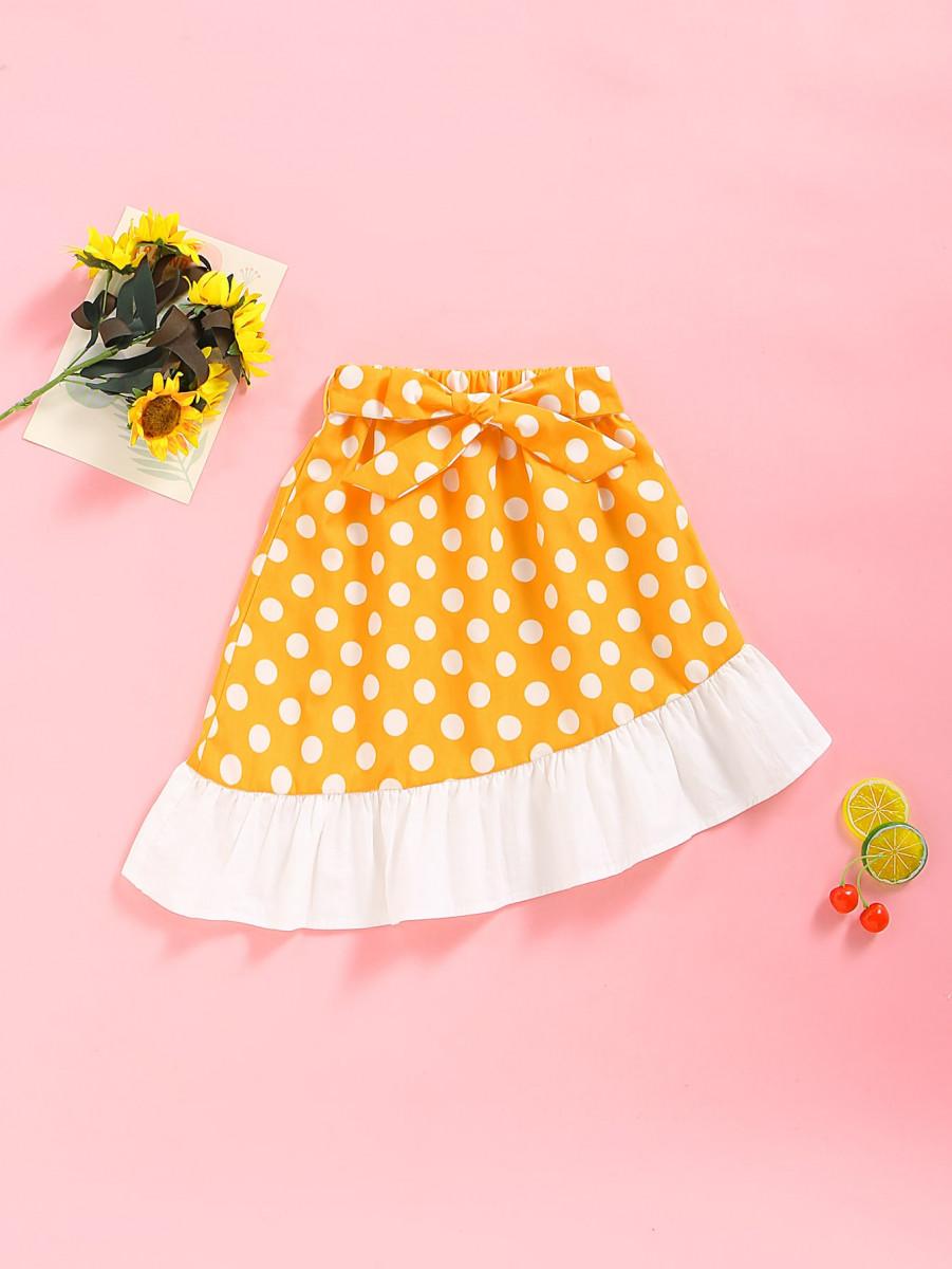 Toddler Girls Contrast Ruffle Hem Belted Polka Dot Skirt