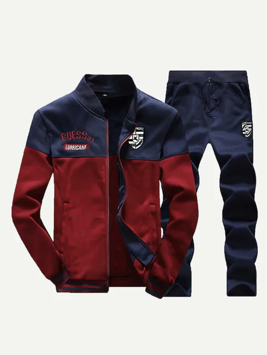 Men Letter Embroidered Sweatshirt With Pants