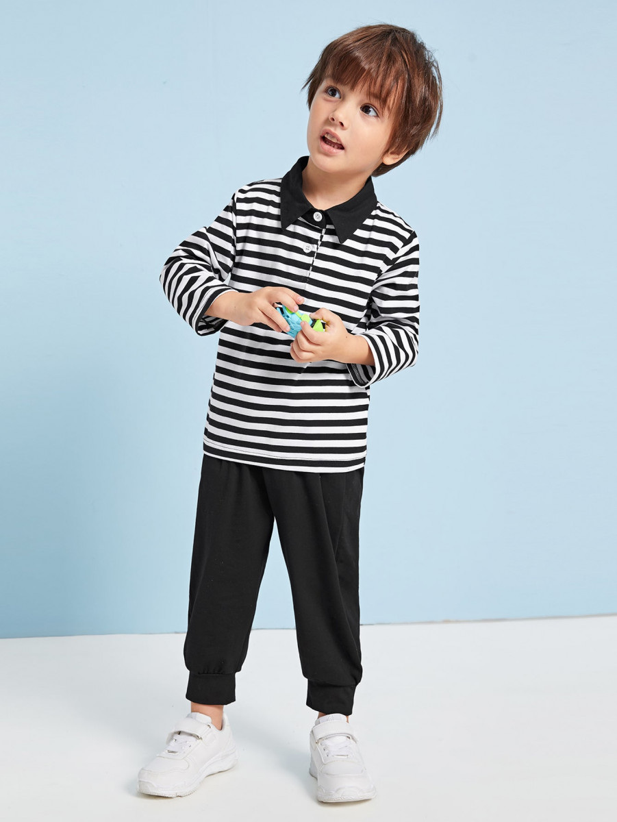 Toddler Boys Striped Polo Shirt With Sweatpants