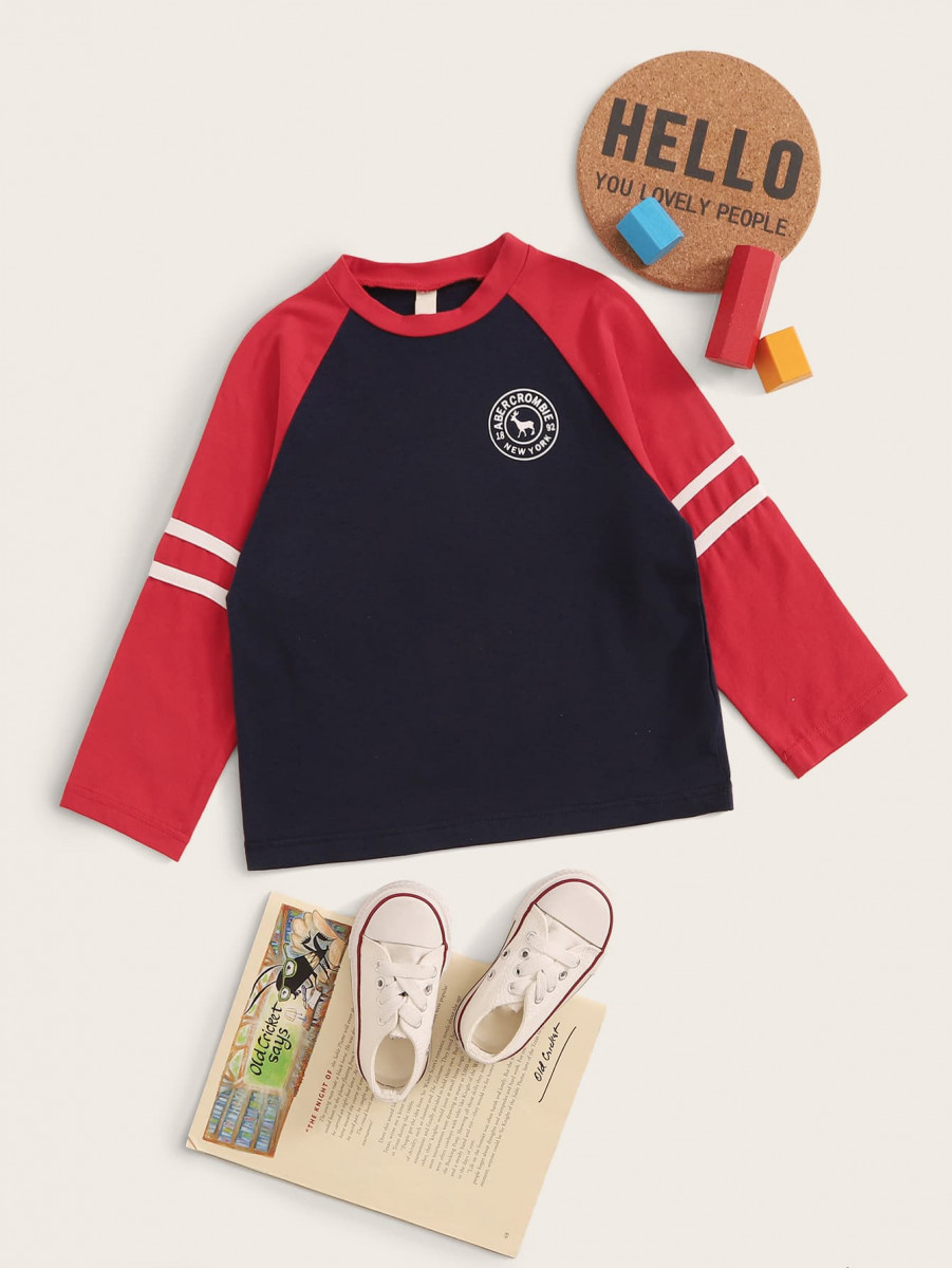 Toddler Boys Letter Patched Striped Tape Baseball Tee