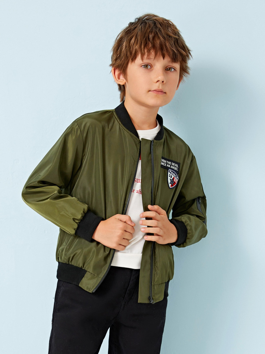 Boys Zip Up Patched Detail Bomber Jacket