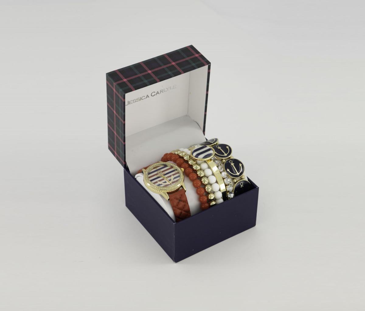 Jessica Carlyle Womens Analog Watch & Bracelet Set  Red/Navy