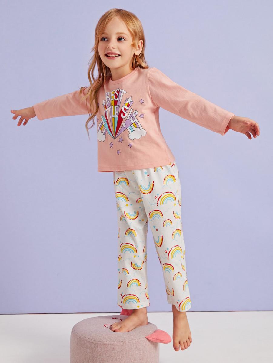 Toddler Girls Rainbow Print PJ Set