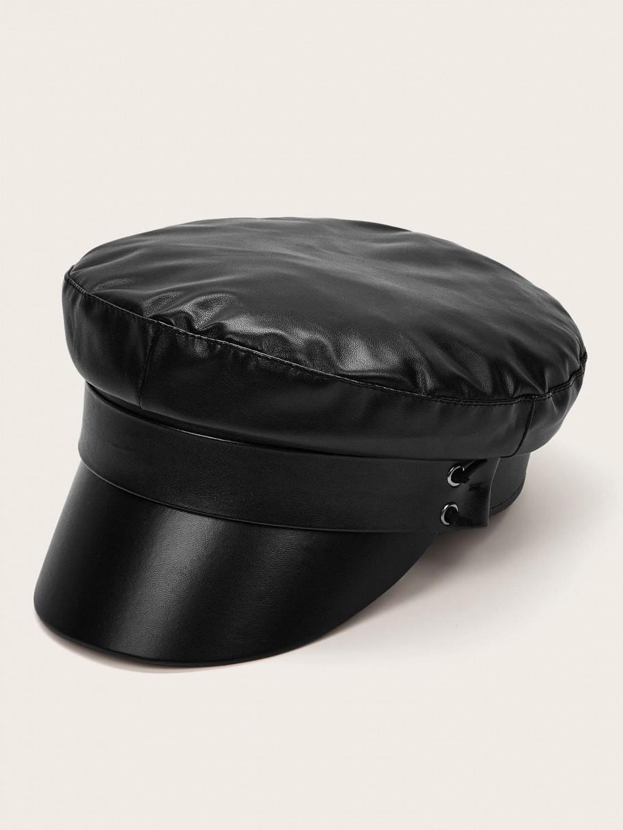 Solid PU Baker Boy Hat