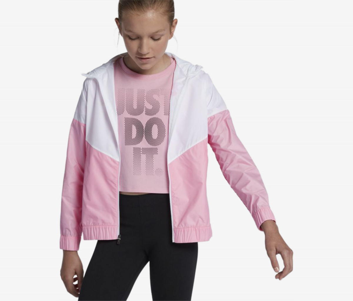 Nike Big Girls Sportswear Windrunner Hooded Jacket  Pink/White