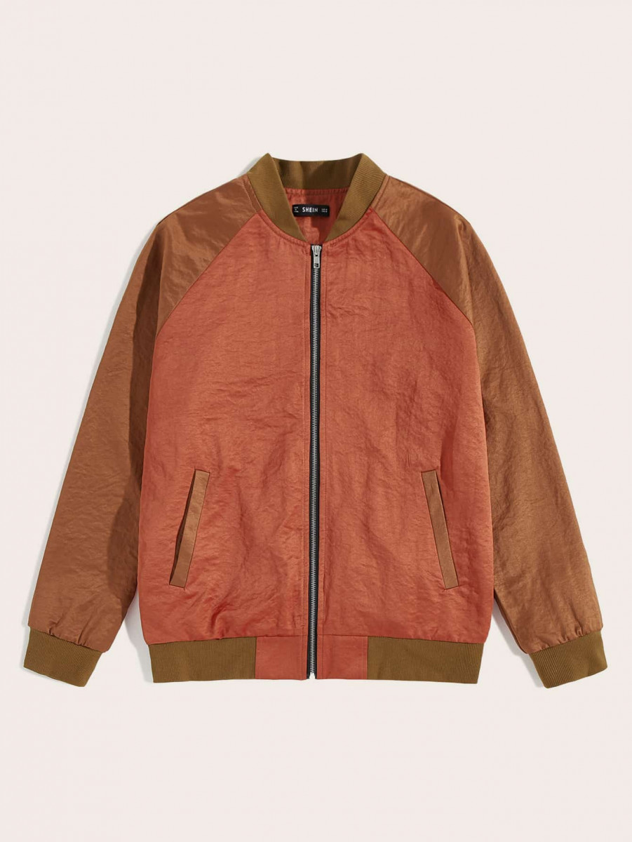 Men Zip Up Colorblock Bomber Jacket
