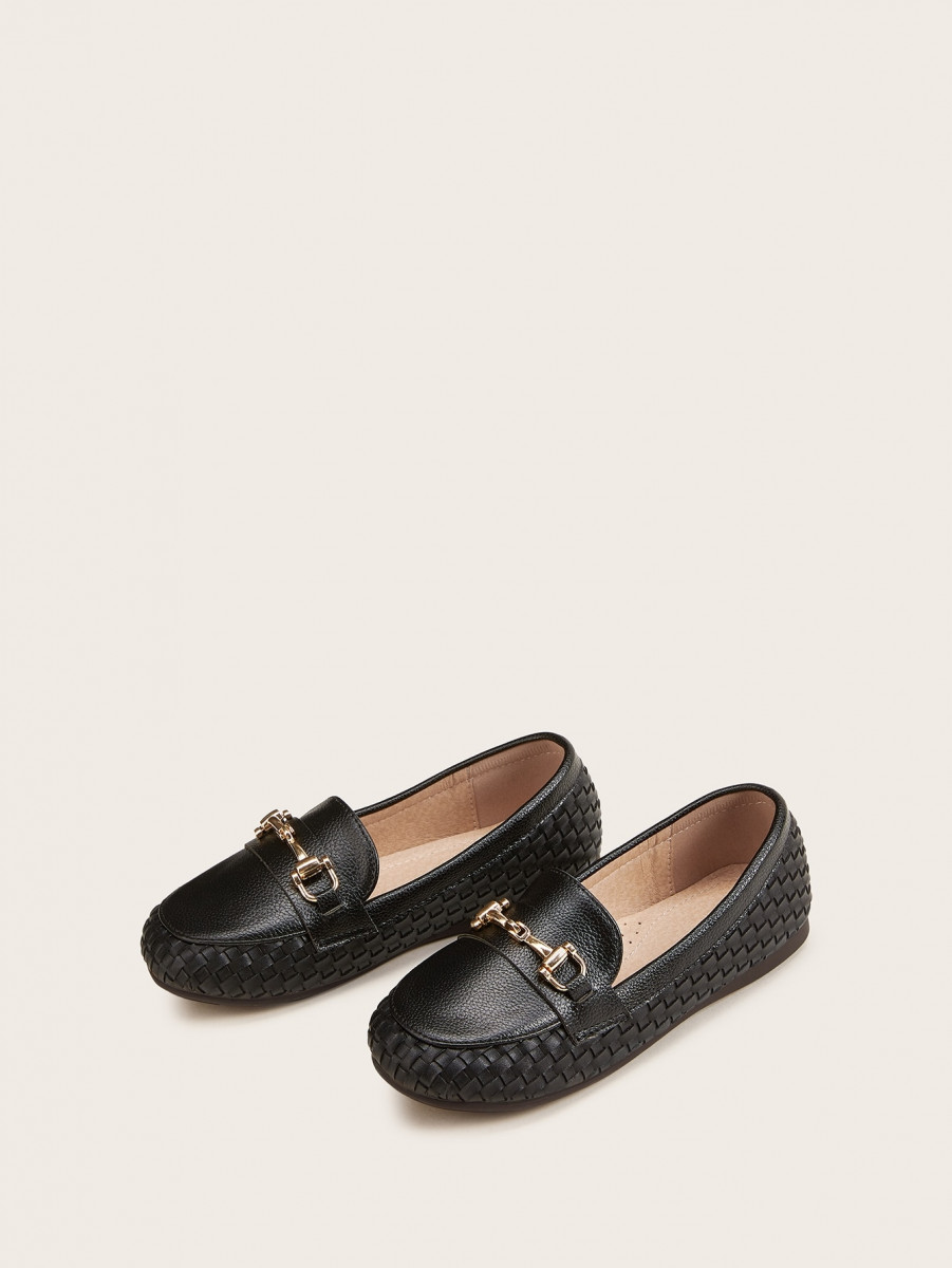 Boys Metal Decor Braided Loafers