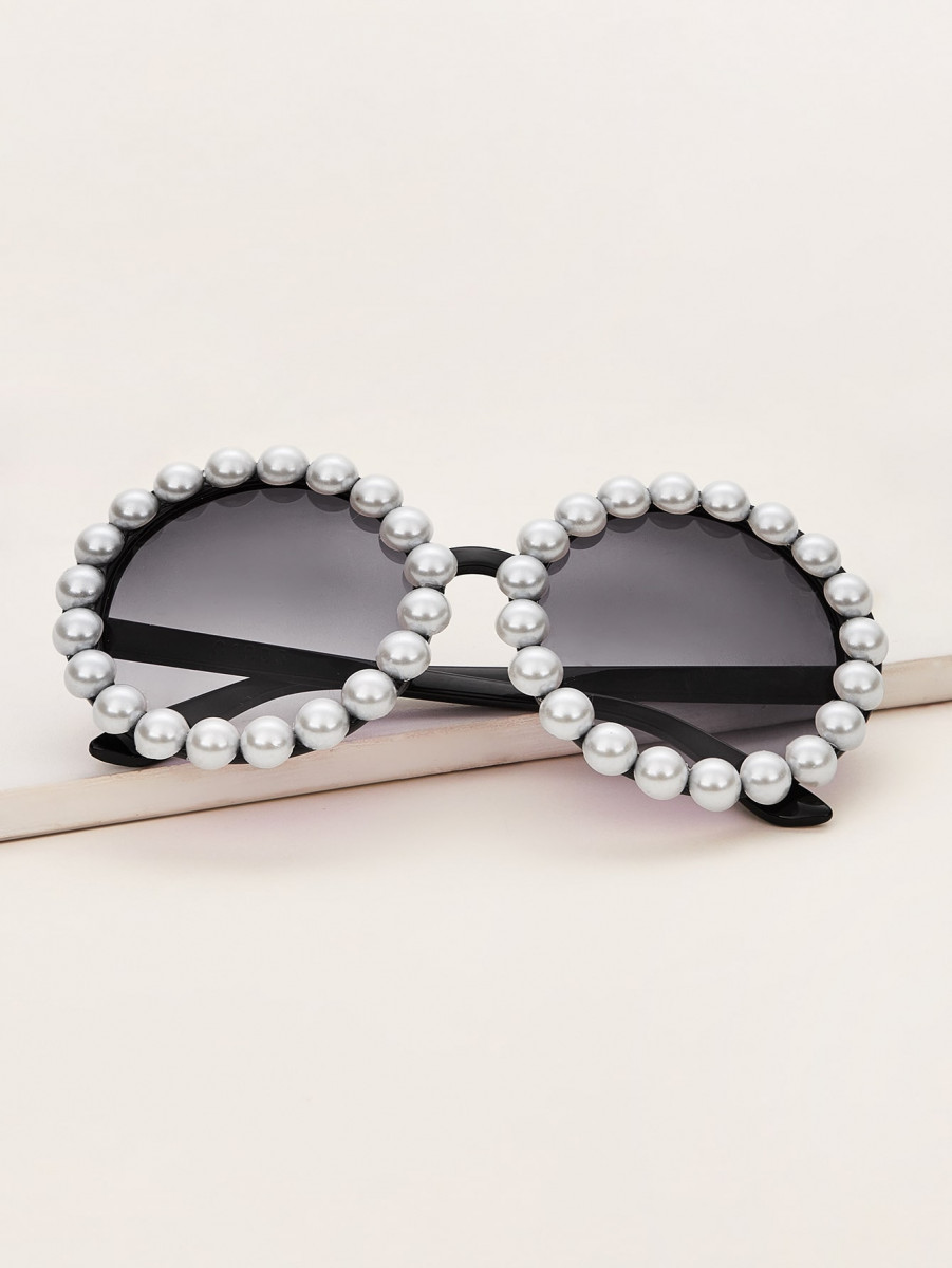Faux Pearl Round Frame Sunglasses