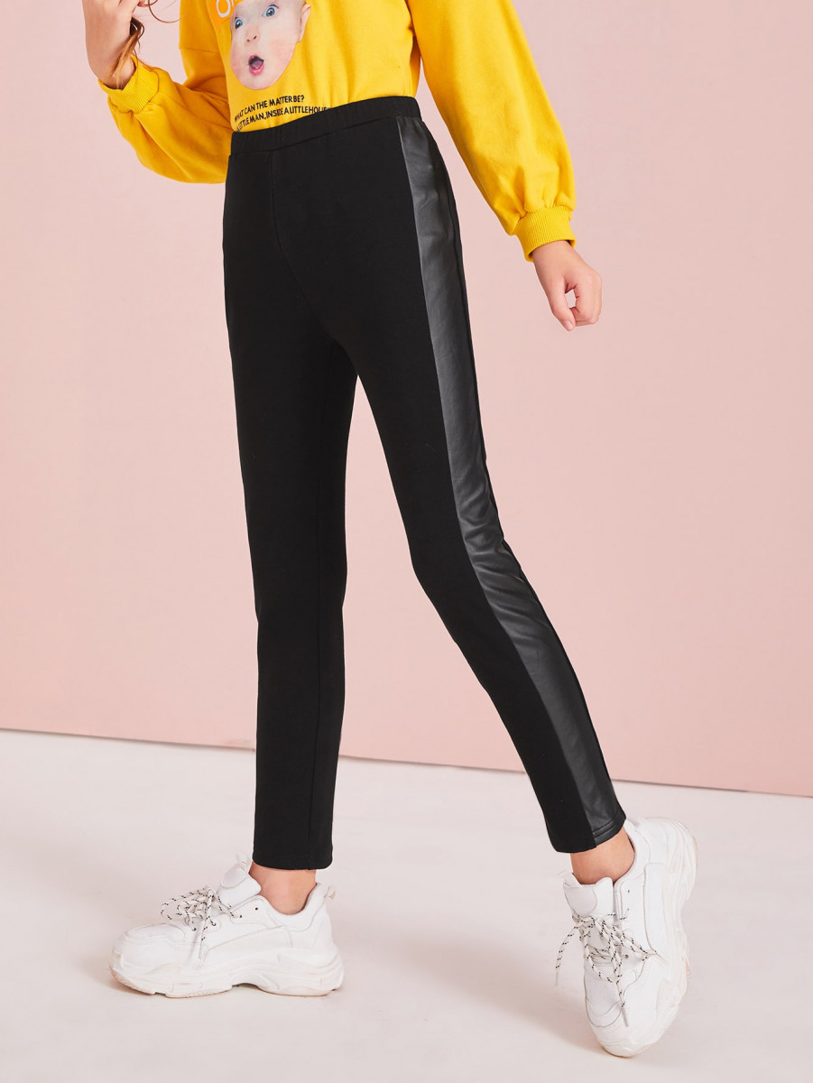 Girls Faux Leather Side Seam Leggings
