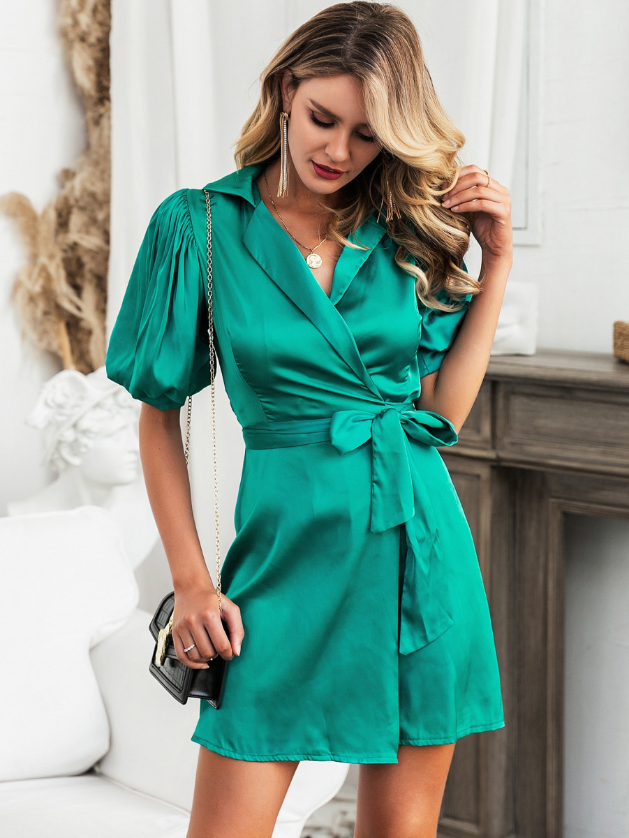 Glamaker Puff Sleeve Belted Knot Satin Wrap Dress