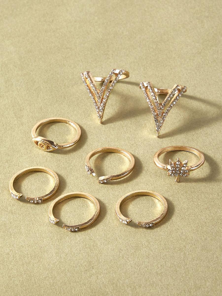 8pcs Rhinestone Decor Ring