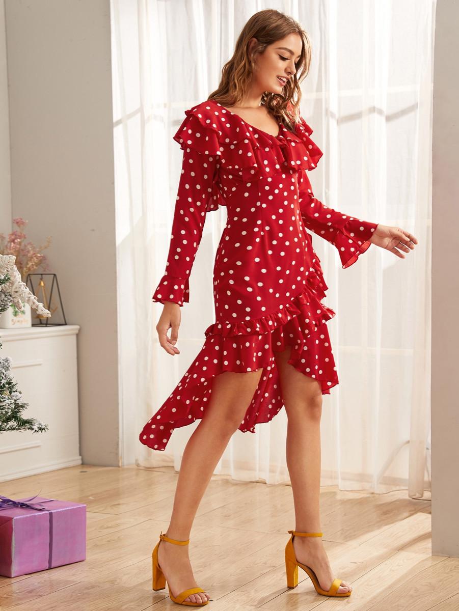 Polka Dot Ruffle Trim Flounce Sleeve Dress