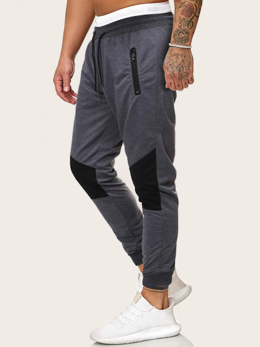 Men Contrast Panel Zipper Pocket Sweatpants