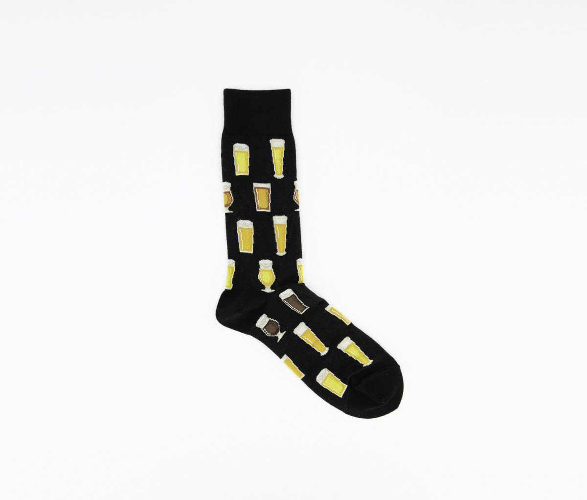 Hot Sox Mens Printed Crew Socks  Black