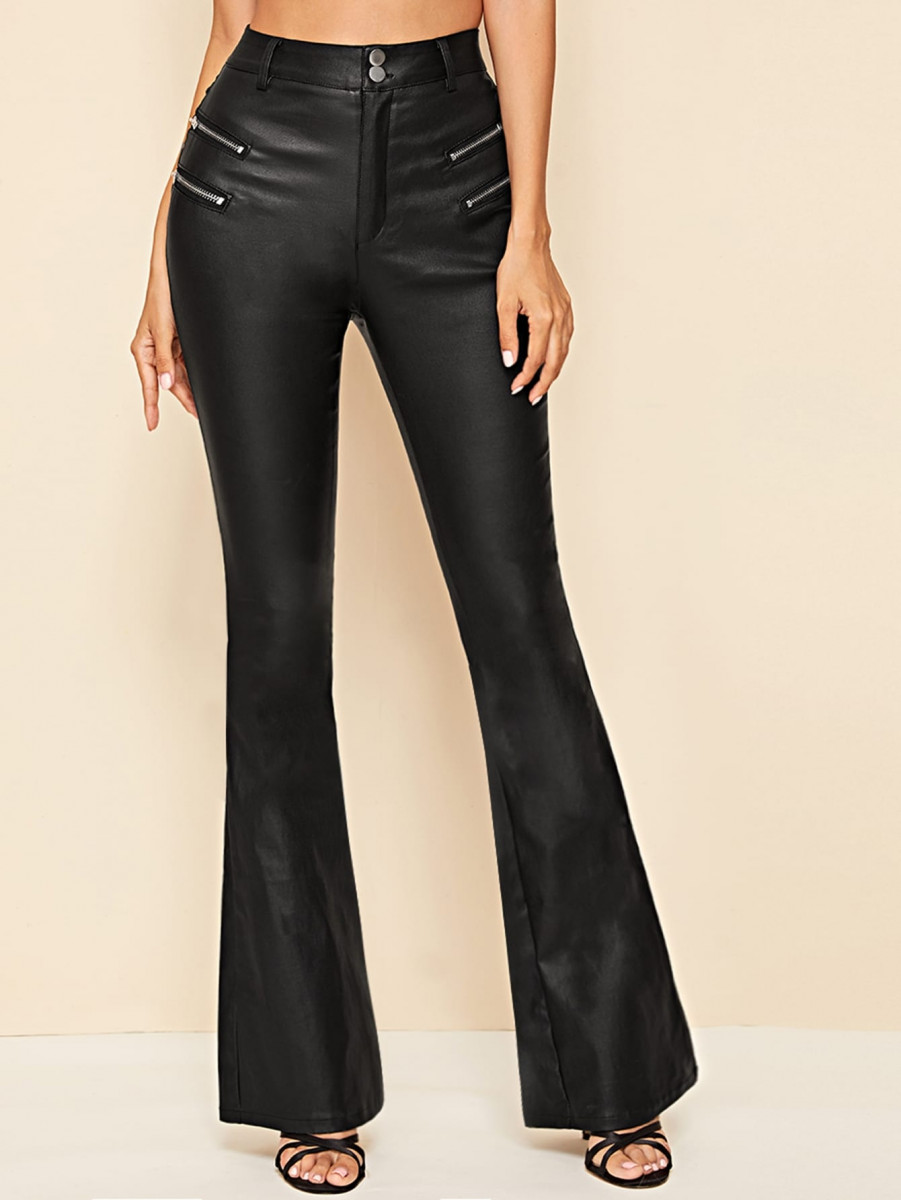 Coated Zip Detail Flare Leg Jeans