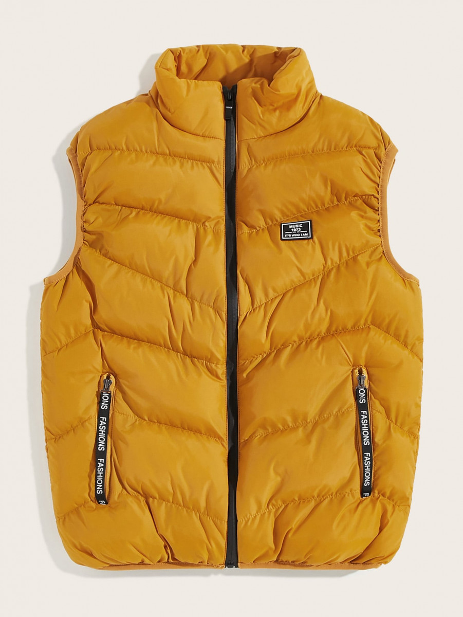 Men Letter Patched Puffer Gilet