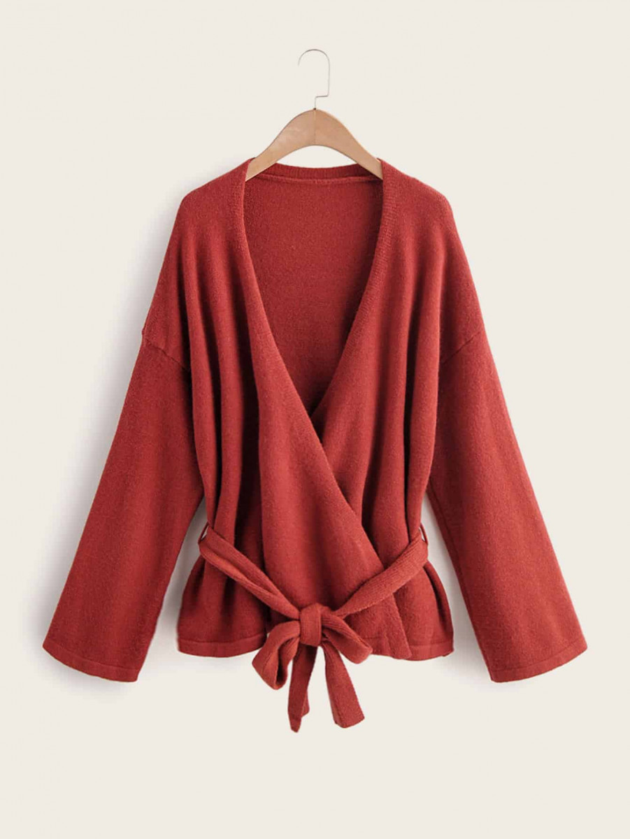 Solid Belted Drop Shoulder Cardigan