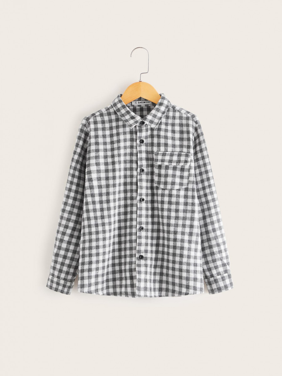 Boys Flap Pocket Gingham Print Shirt