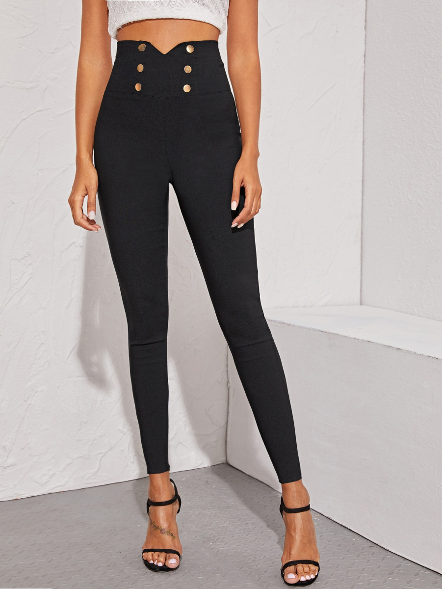 Double Button Notched Waist Skinny Jeans