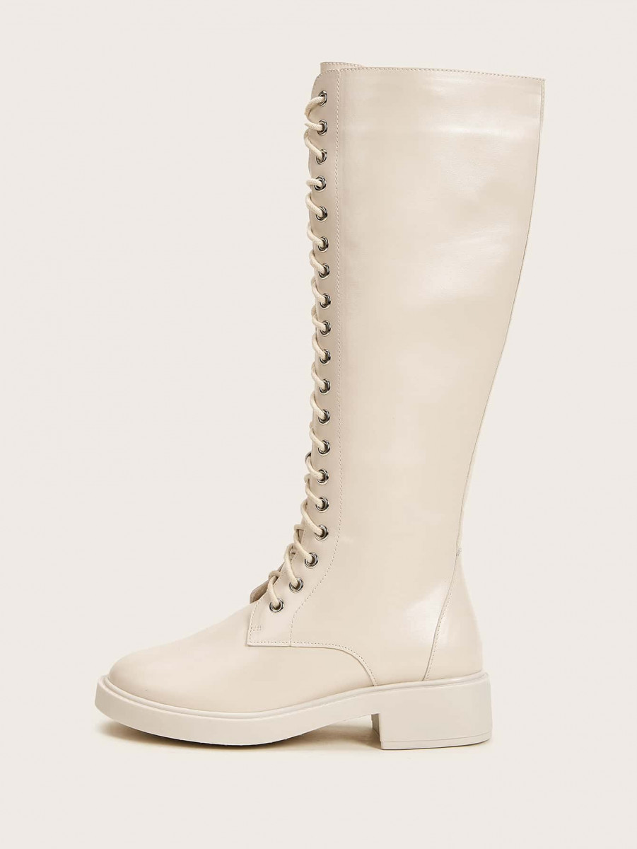 Lace-up Mid Calf Boots