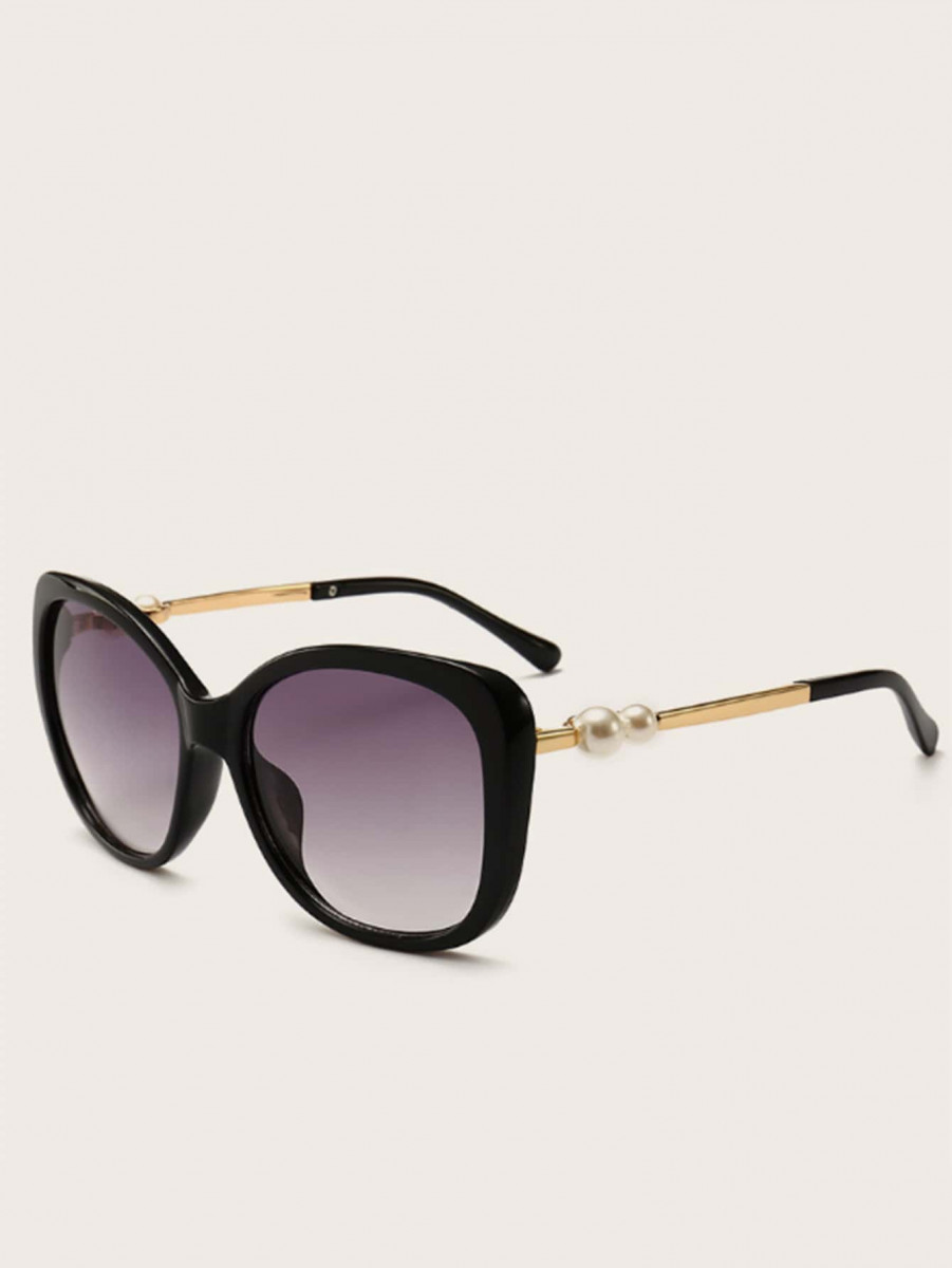 Faux Pearl Decor Flat Lens Sunglasses With Case