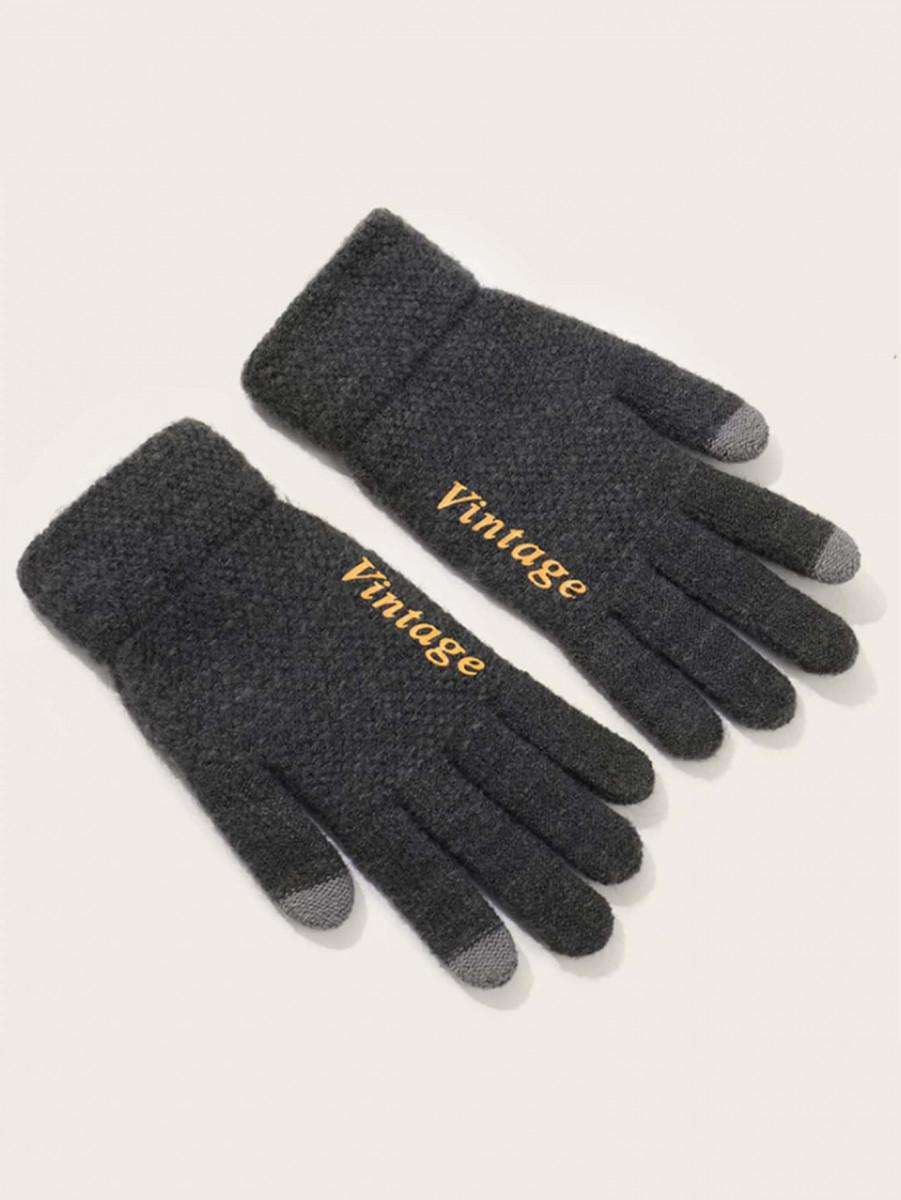 1pair Men Letter Pattern Gloves
