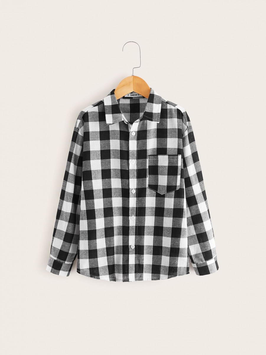 Boys Gingham Print Pocket Button Front Shirt