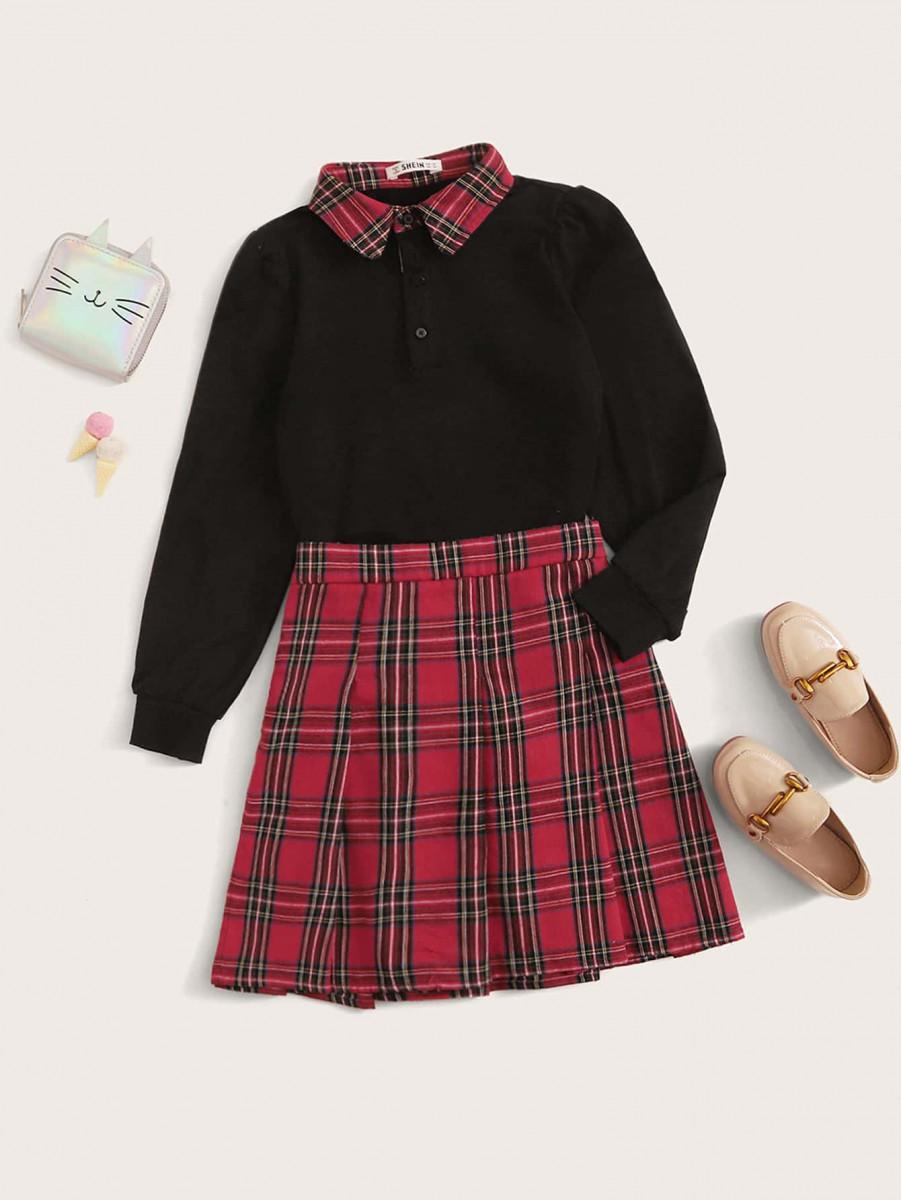 Girls Contrast Collar Top & Tartan Skirt Set