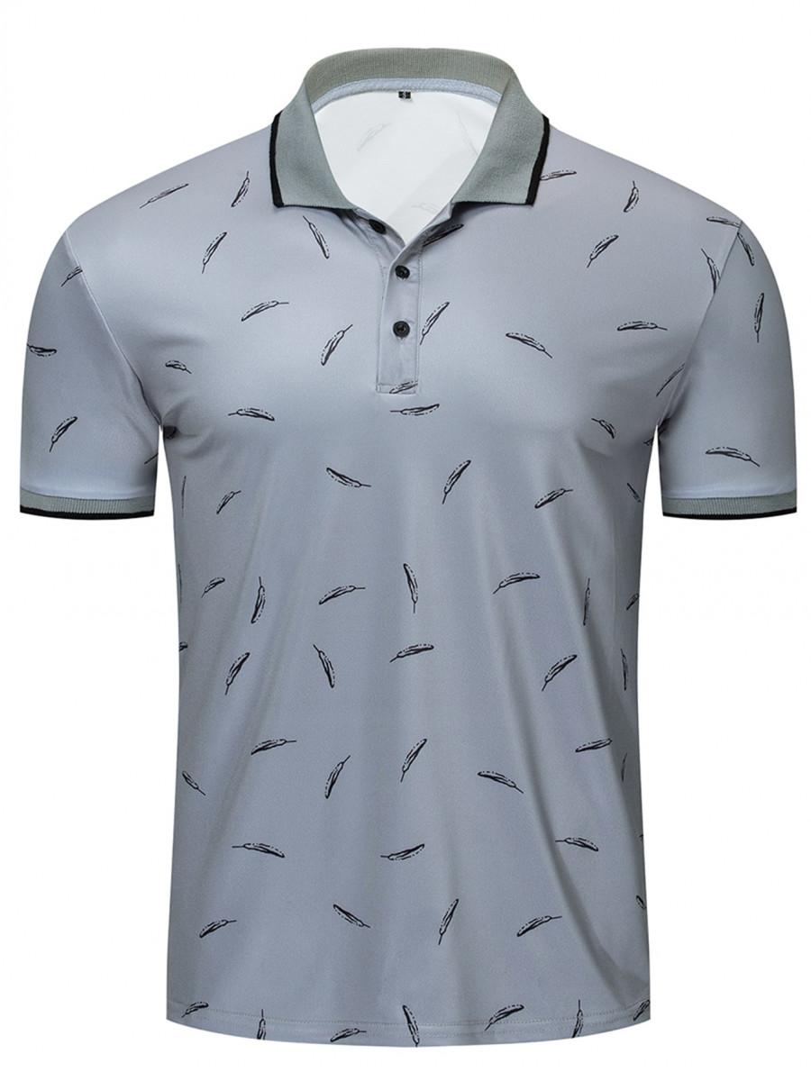 Men Feather Print Polo Shirt