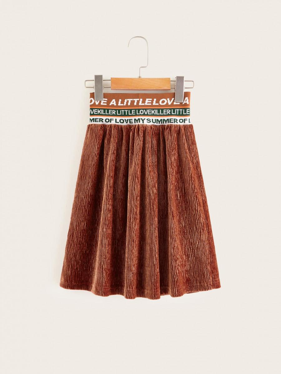 Toddler Girls Letter Wind-band Waist Corduroy Skirts