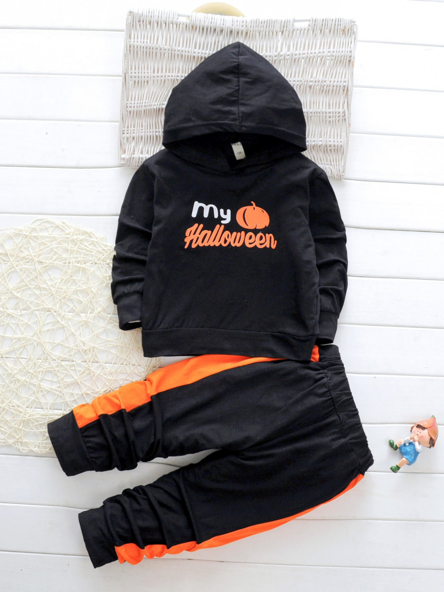 Toddler Boys Halloween Print Hoodie With Contrast Side Joggers