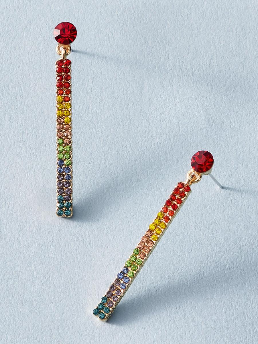 1pair Rhinestone Engraved Earrings