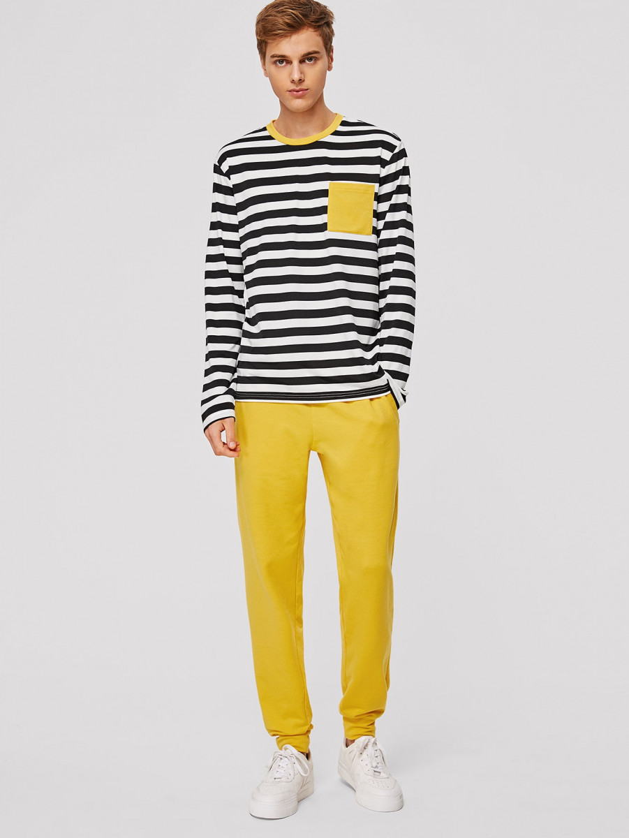Men Pocket Patched Striped Top & Sweatpants Set