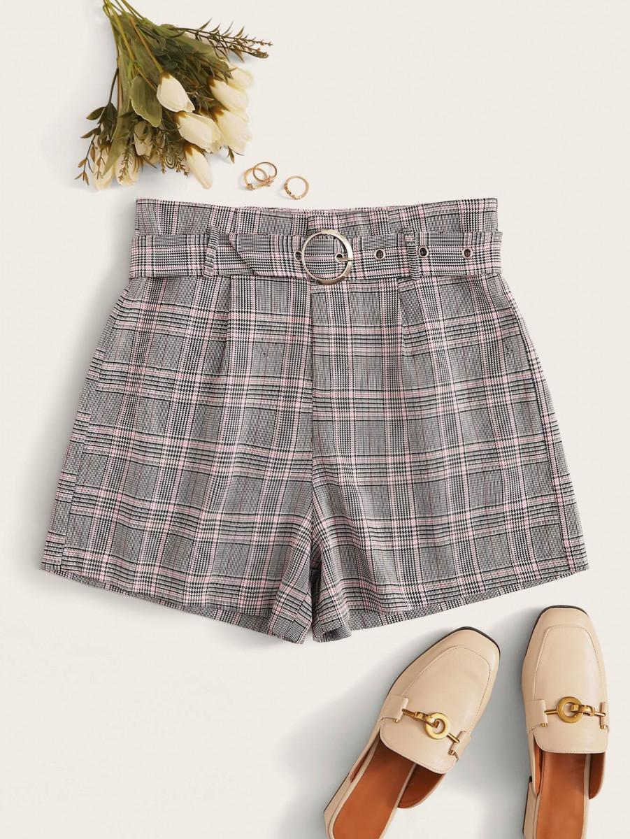 Self Tie Plaid Pattern Shorts