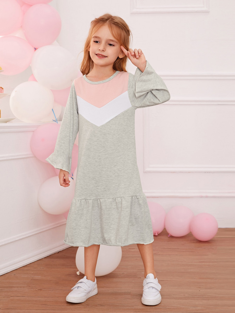 Toddler Girls Contrast Panel Ruffle Hem Smock Dress