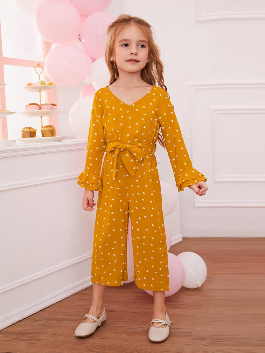 Toddler Girls Confetti Heart Print Self Tie Jumpsuit