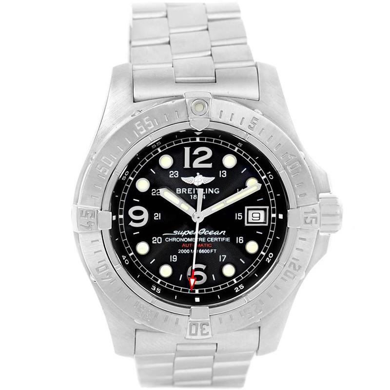 Breitling Black Stainless Steel Aeromarine Superocean Steelfish A17390 Men's Wristwatch 44 MM