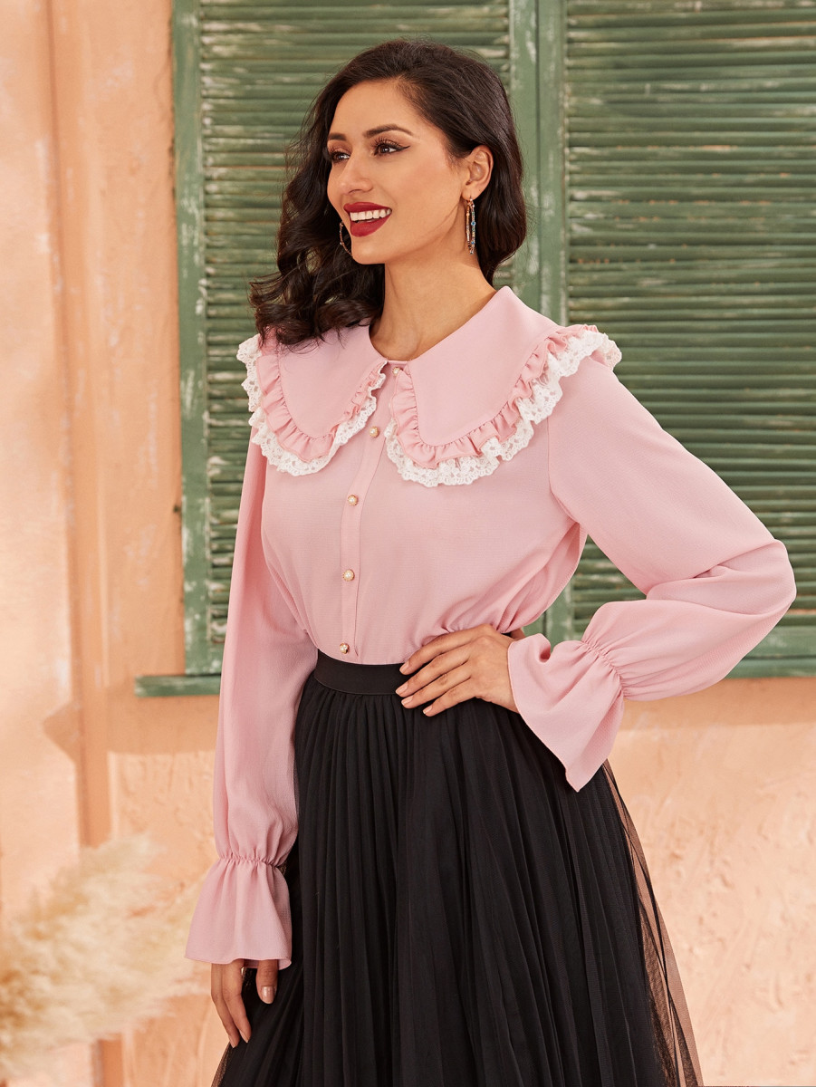 Embroidered Trim Bell Sleeve Button Detail Top