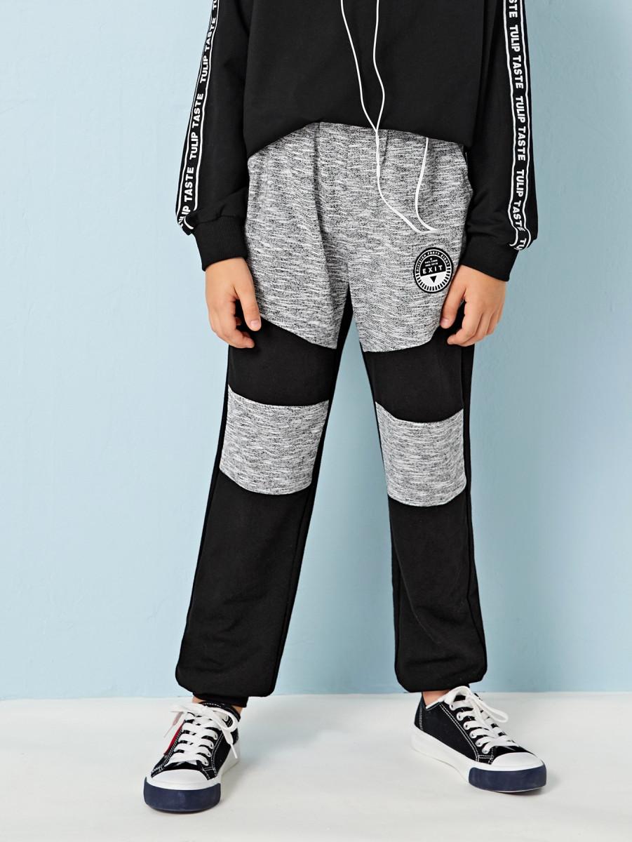Boys Patch Detail Colorblock Sweatpants
