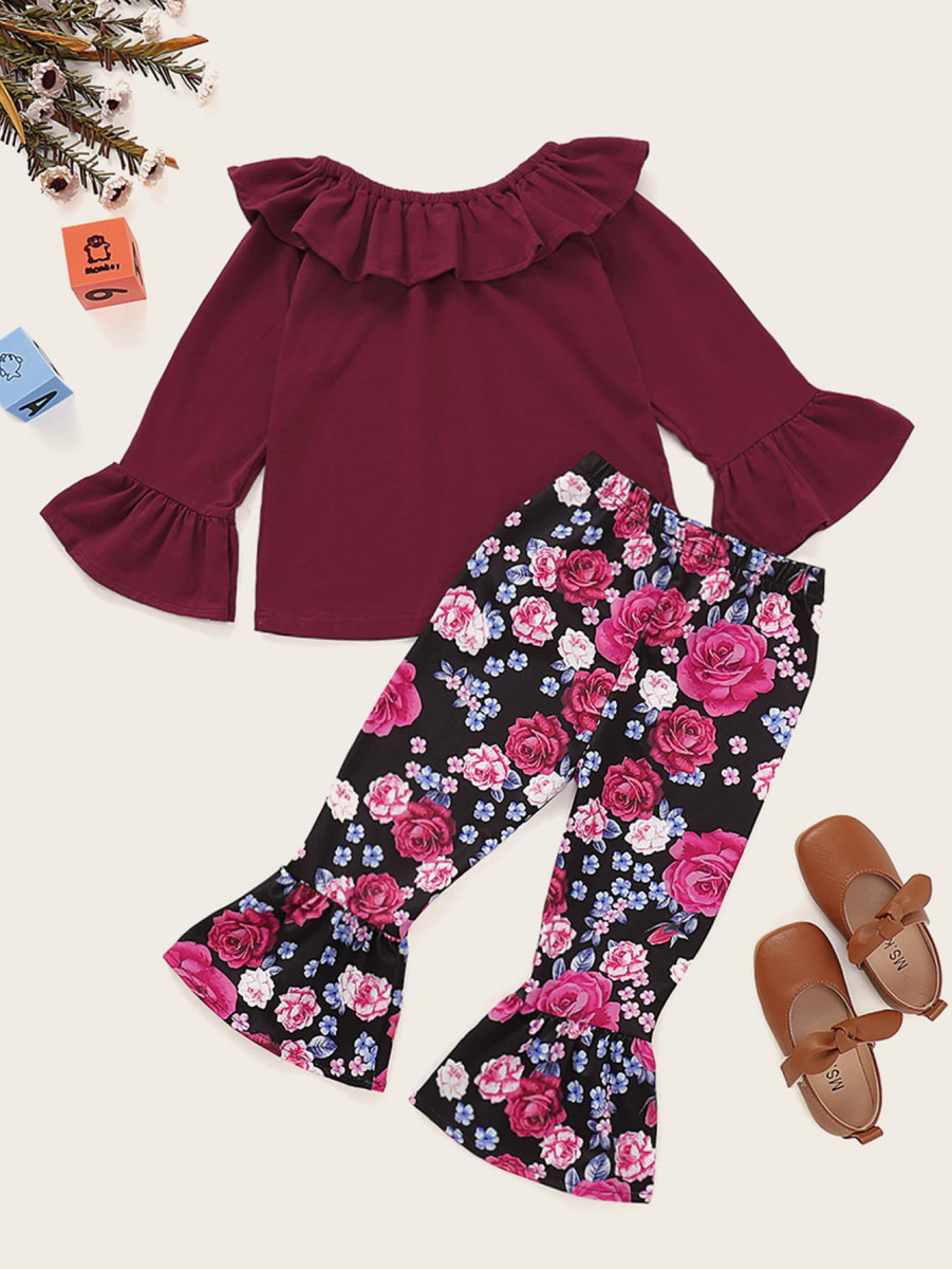 Toddler Girls Ruffle Trim Top With Floral Flare Pants