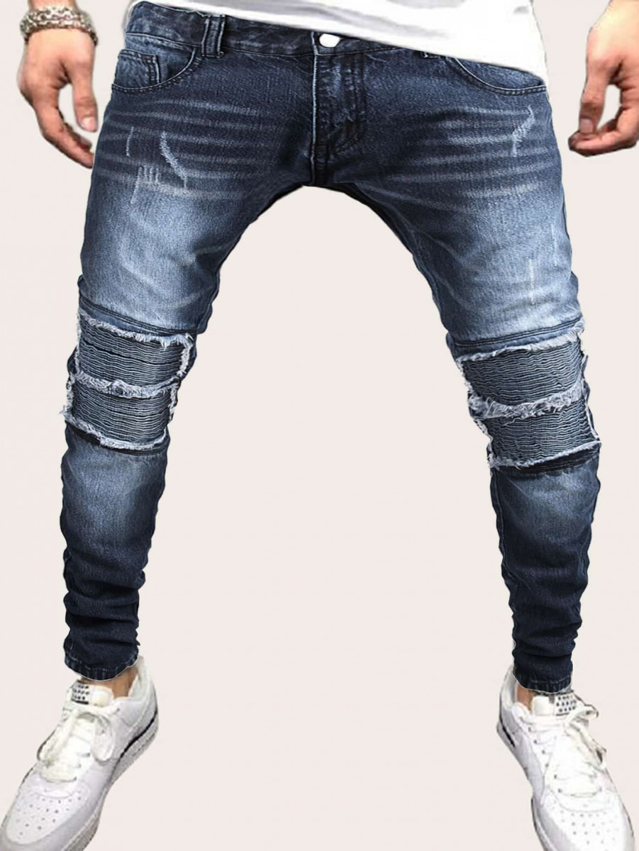 Men Ruched Raw Trim Washed Jeans