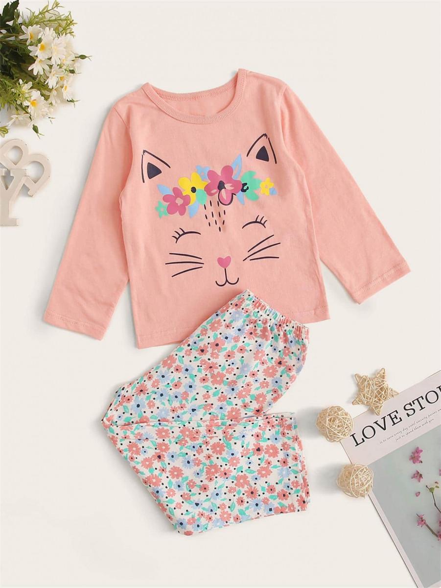 Toddler Girl Cat & Floral Print PJ Set