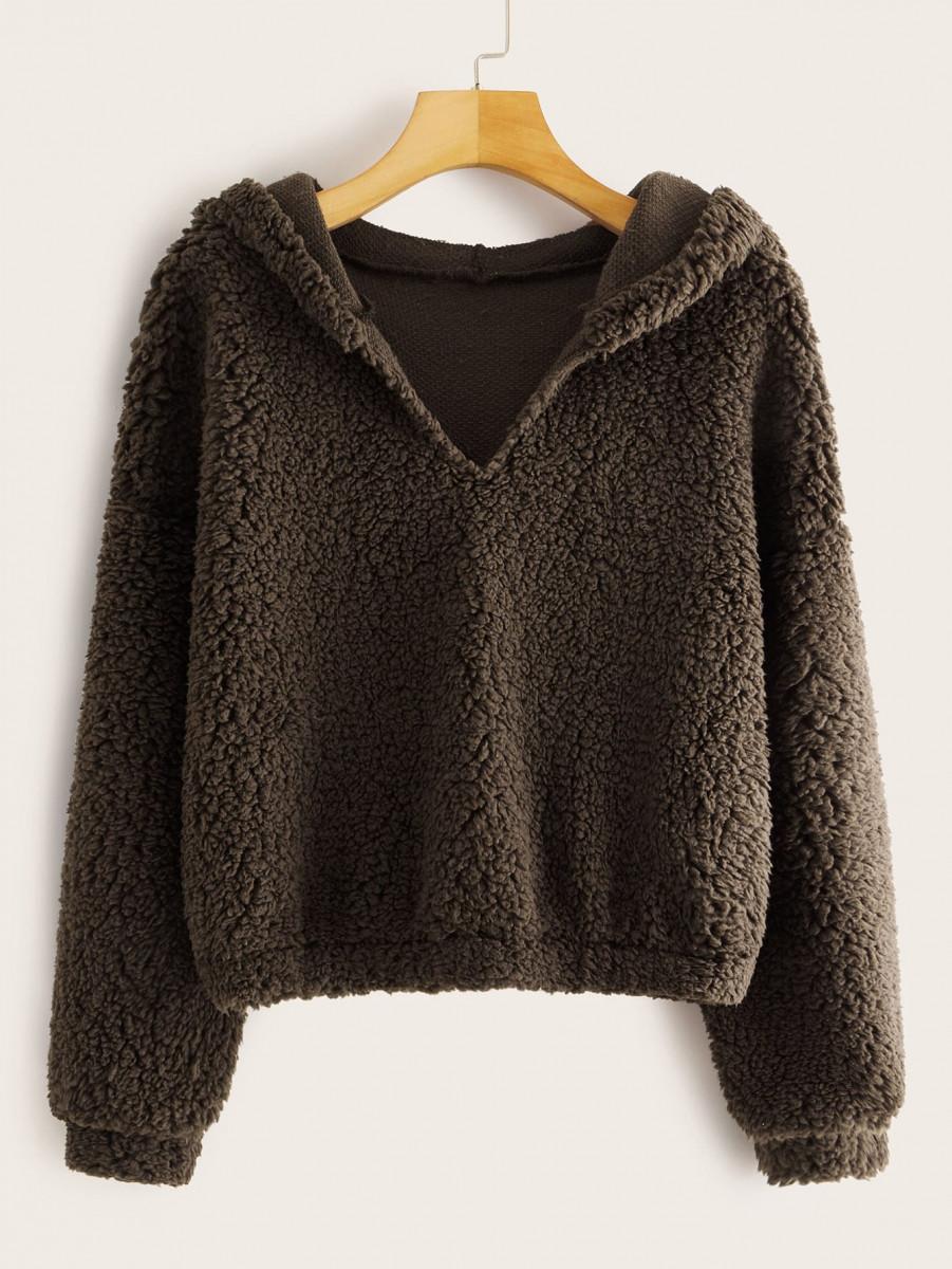 Drop Shoulder Hooded Teddy Sweatshirt