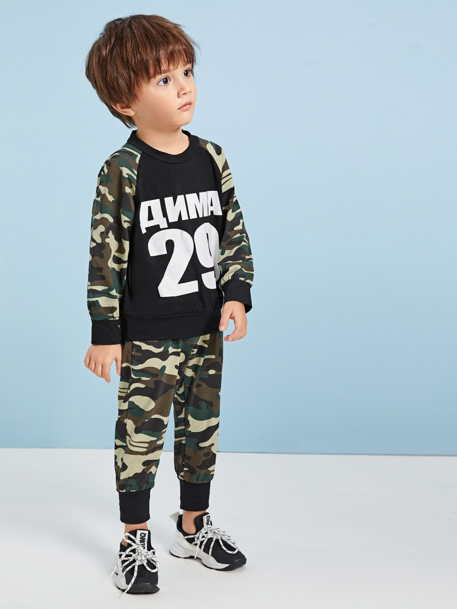 Toddler Boys Letter Graphic Sweatshirt & Pants