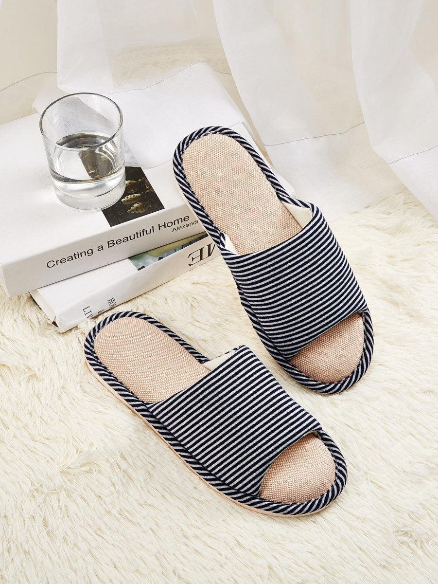 Men Open Toe Striped Slippers