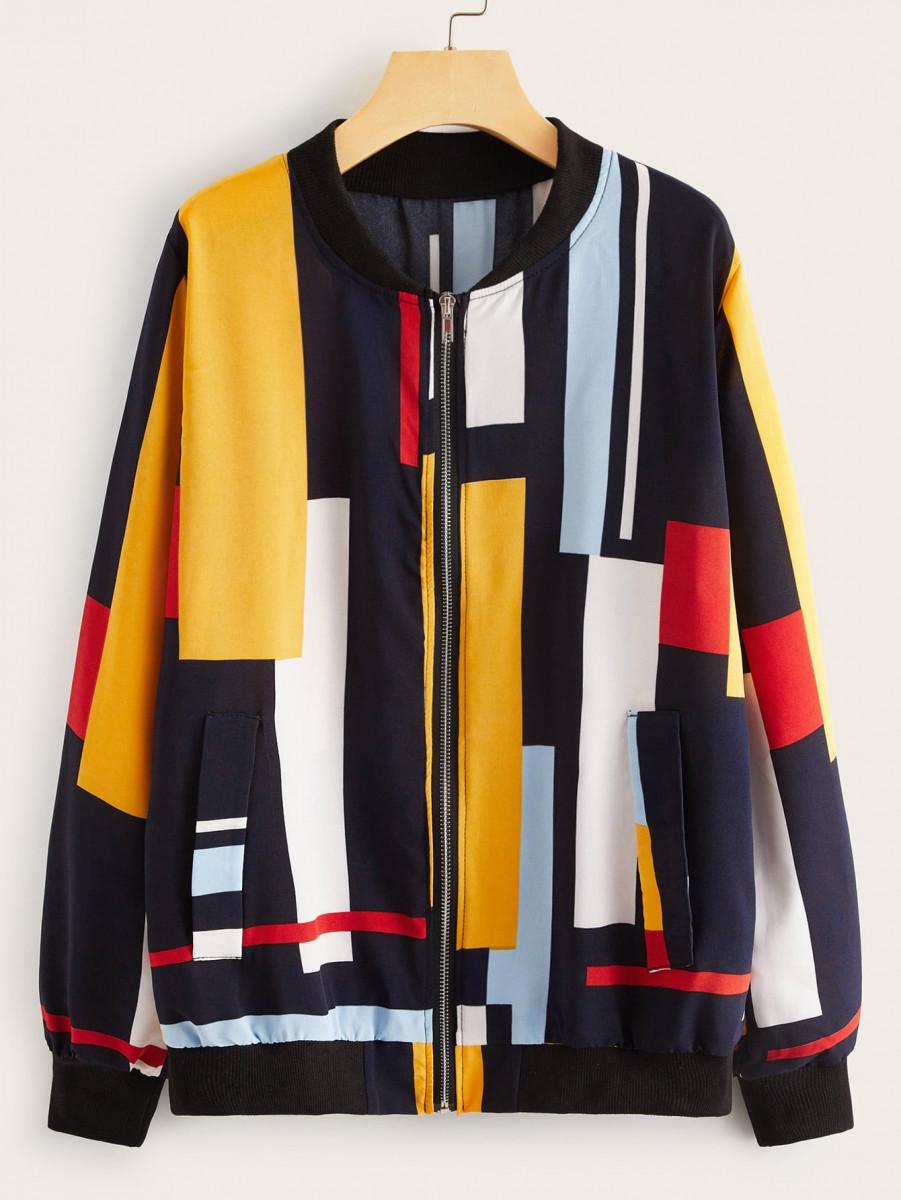 Color-Block Zip Up Bomber Jacket