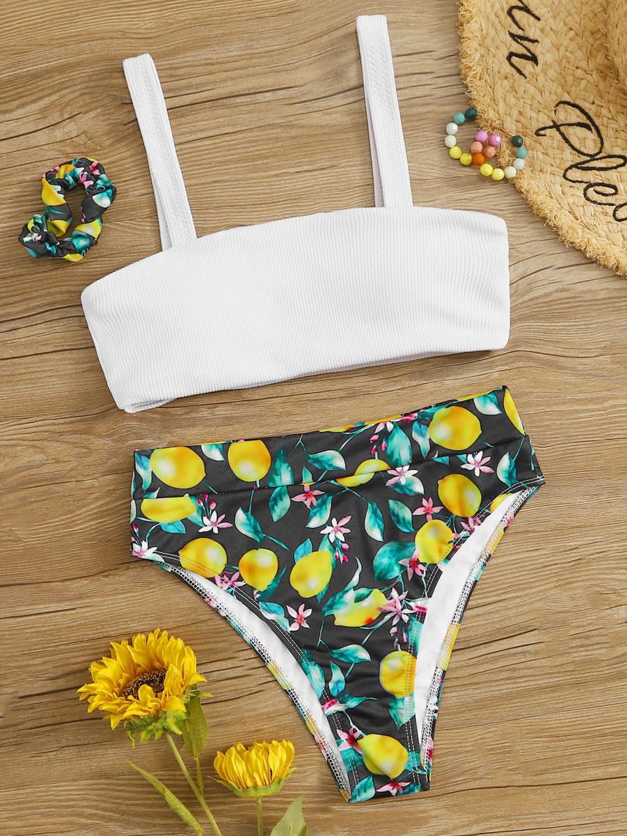Rib Top With Lemon Print High Waist Bikini Set & Hair Scrunchies