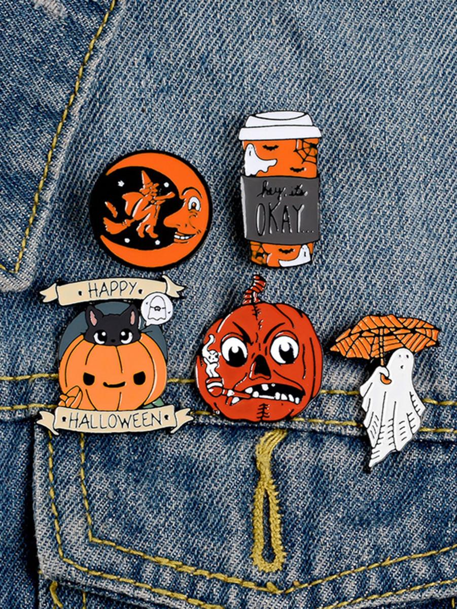 5pcs Halloween Pumpkin & Moon Shaped Brooch Set