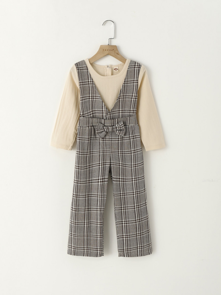 Toddler Girls Bow Front Plaid Combo Jumpsuit