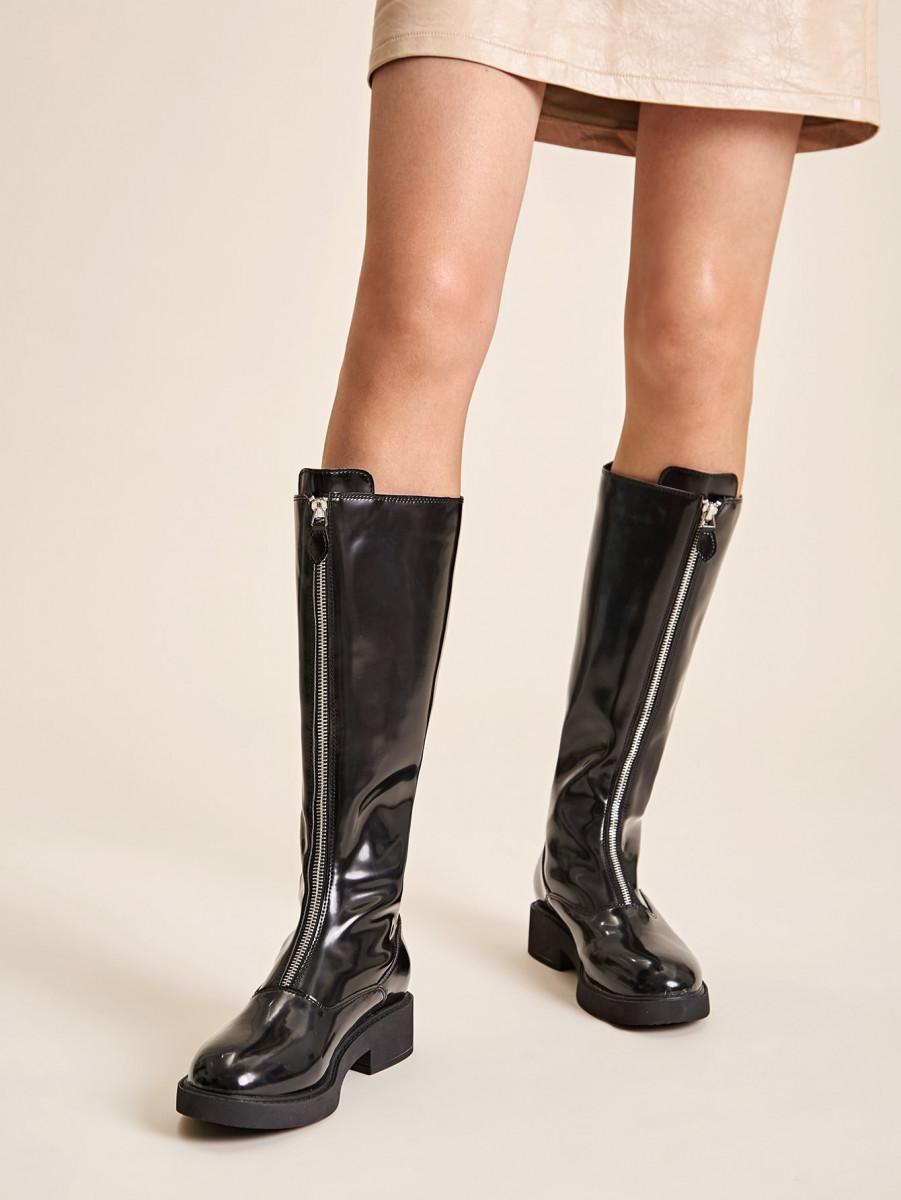Zip Front Mid Calf Boots
